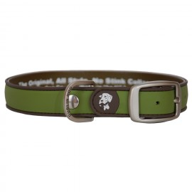 Dublin Dog All Style No Stink Waterproof Collar Simply Solid Olive and Brown