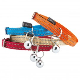 Bobby Safe Collection Reflective Nylon Cat Collar (Orange, Blue, Beige, Pink)