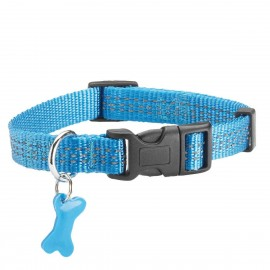 Bobby Safe Collection Reflective Nylon Dog Collars in Blue