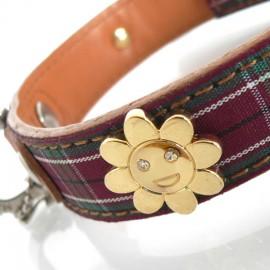 Daisy Tartan Purple Dog Collar