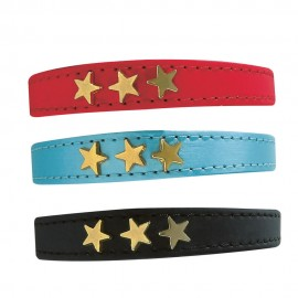 Bobby Stars Leather Cat Collar (Red, Blue and Black)