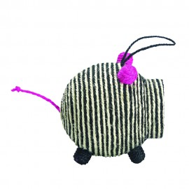 Bobby Miss Pig Sisal Piglet Sound Cat Toy in Black and White