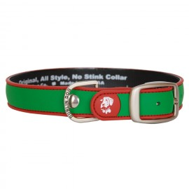 Dublin Dog All Style No Stink Waterproof Collar Simply Solid Green and Red