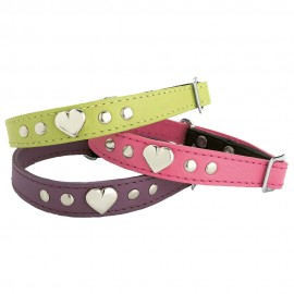 Bobby Leather Cat Collar Hearts in Green, Pink and Purple