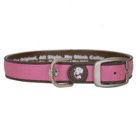 Dublin Dog All Style No Stink Waterproof Dog Collar Simply Solid Pink and Brown