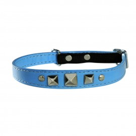 Bobby Rock Leather Cat Collar in Blue