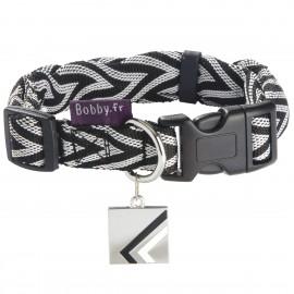 Bobby Chevron Collection Nylon Dog Collar in Black