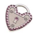 Hamish McBeth Heart Padlock Mini Silver Dog ID Tag
