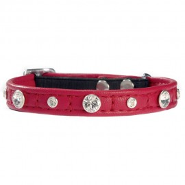 Bobby Comete Leather Cat Collar in Red